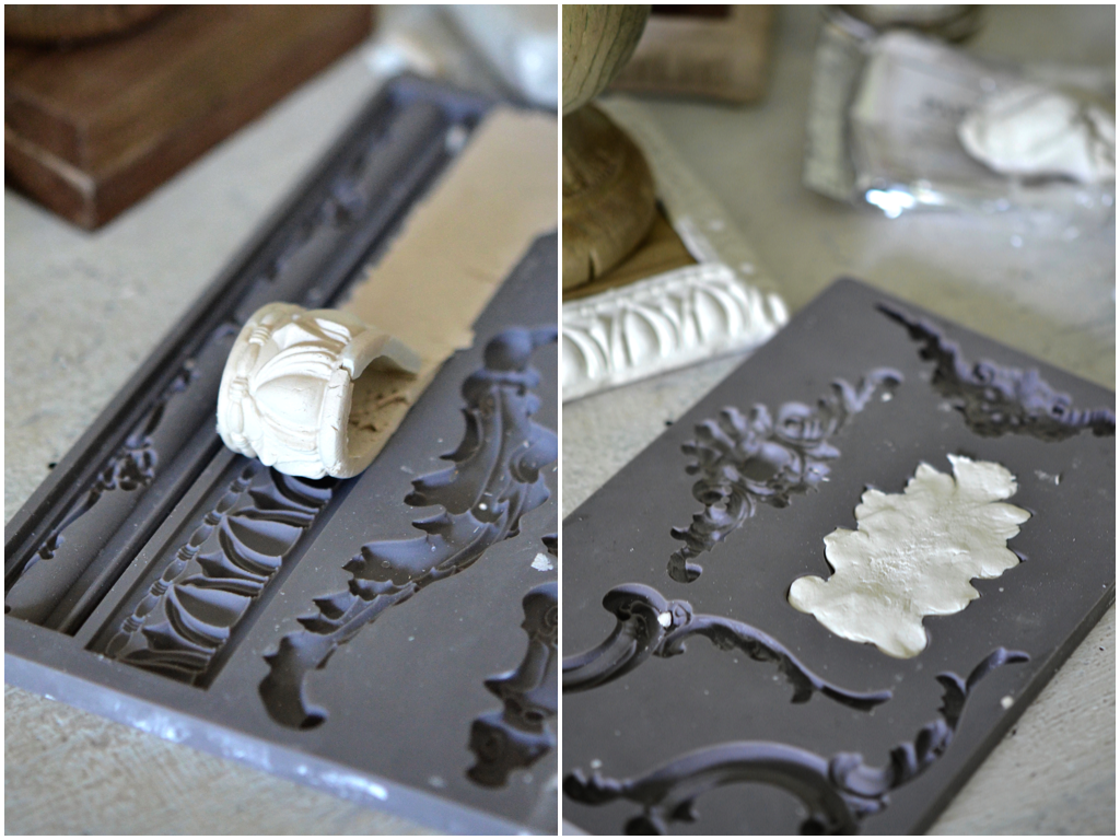 Press the clay into the moulds to create the castings.