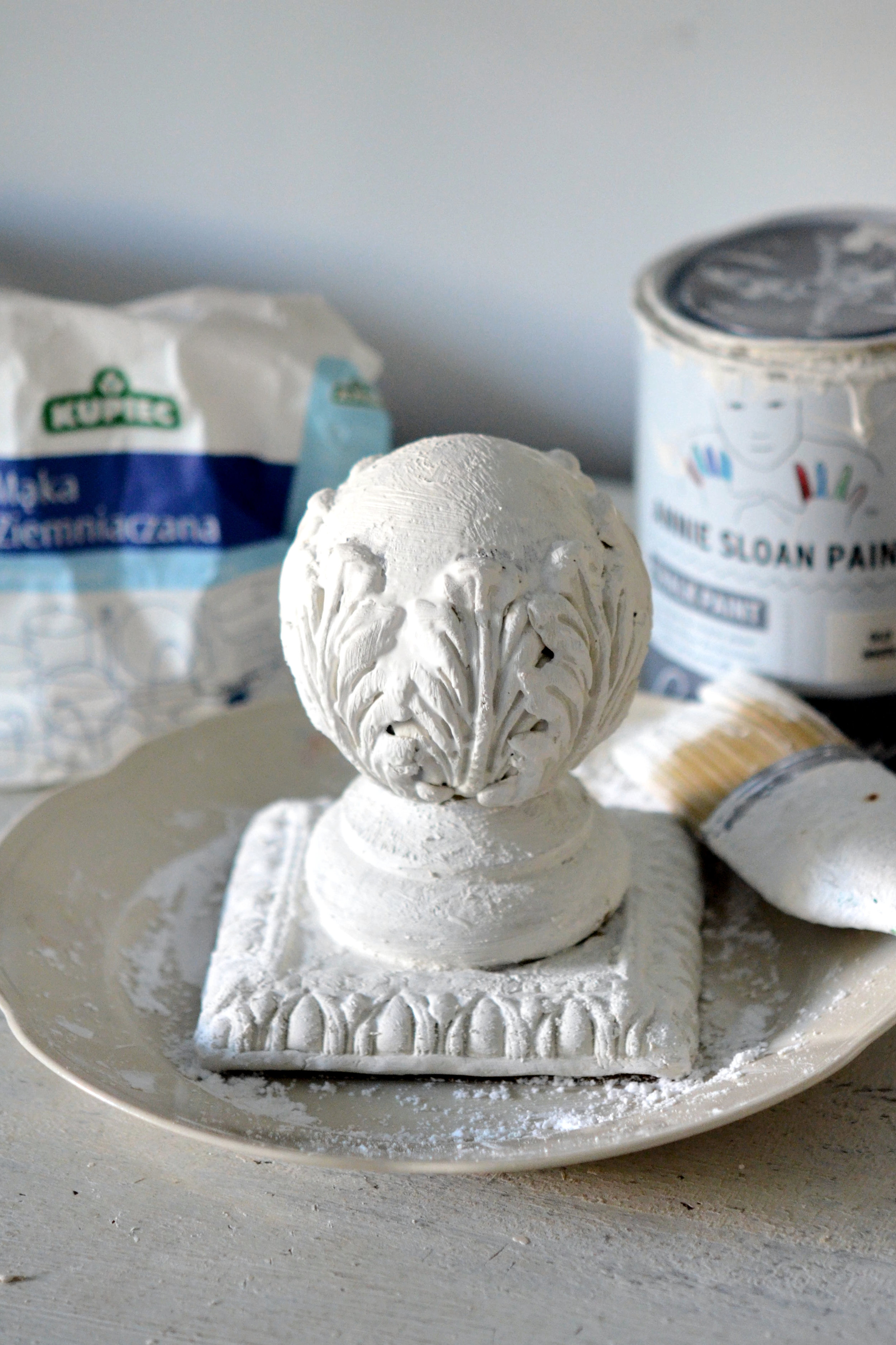 The next step is to paint the pieces with Annie Sloan old white paint.