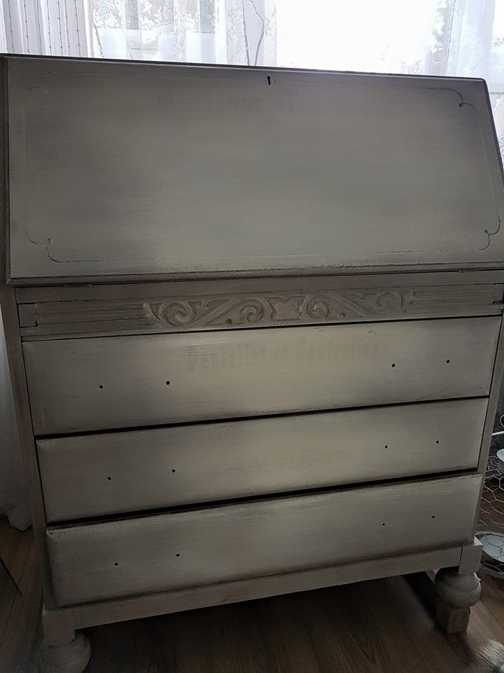 Here is the before piece, stripped of hardware and primed. This is a great base and in sturdy shape.