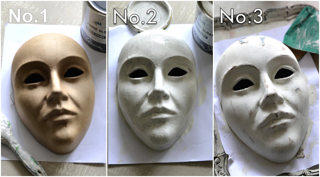 Paint the paper mache masks with chalk paint, then sand a bit to give it a distressed look...