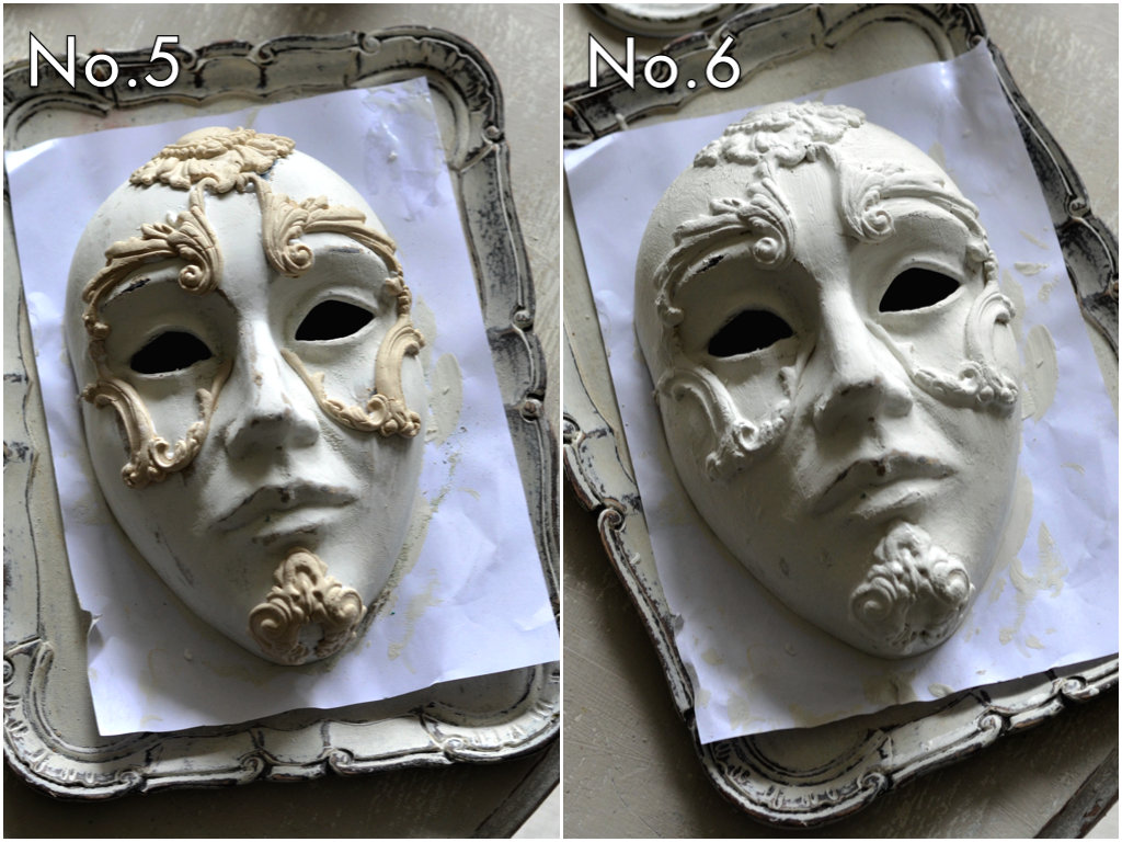 Using a string adhesive, add the castings to the masks where you like. Then paint them with chalk paint. (You can add the moulds to the mask while they are wet to conform to the shape of the mask you are working on).