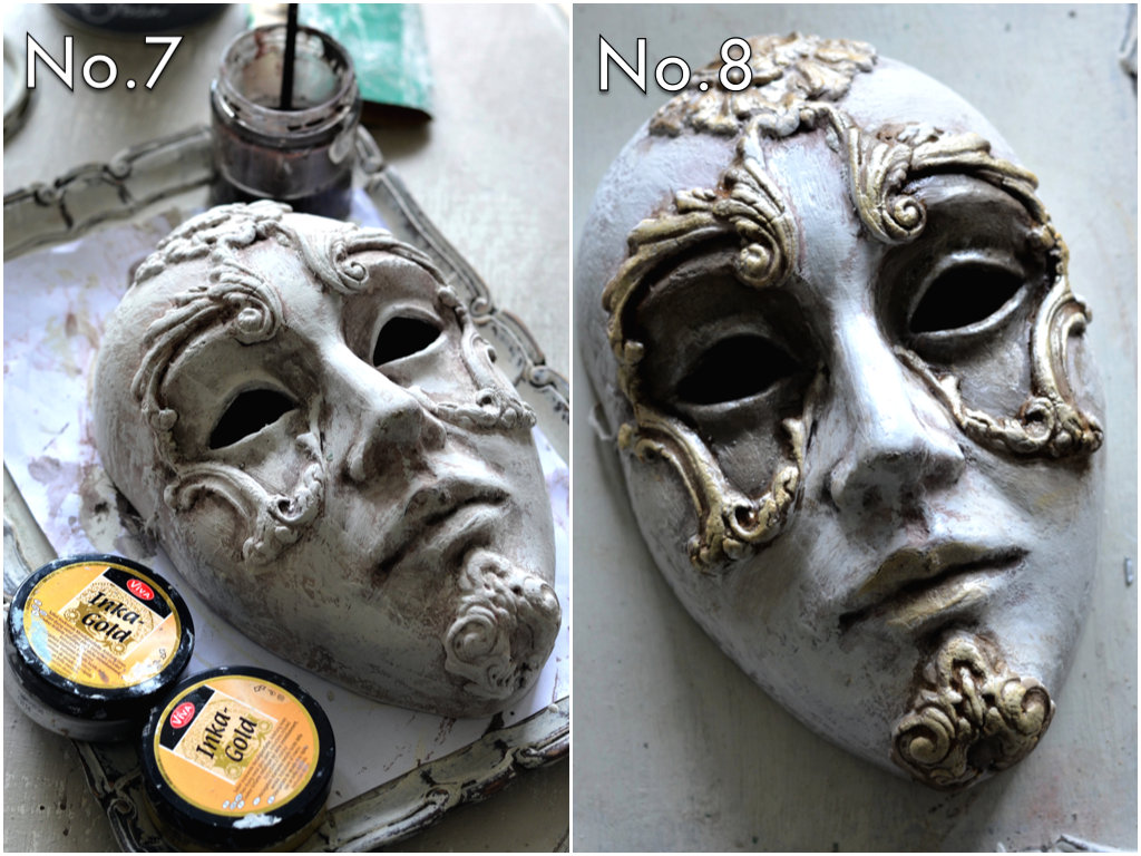 Create a glaze with water and paint, then apply to areas for an aged look. You can apply more in areas where you want darker shades. Apply wax or rub and buff to moulds in gold or any metallic tone you wish...