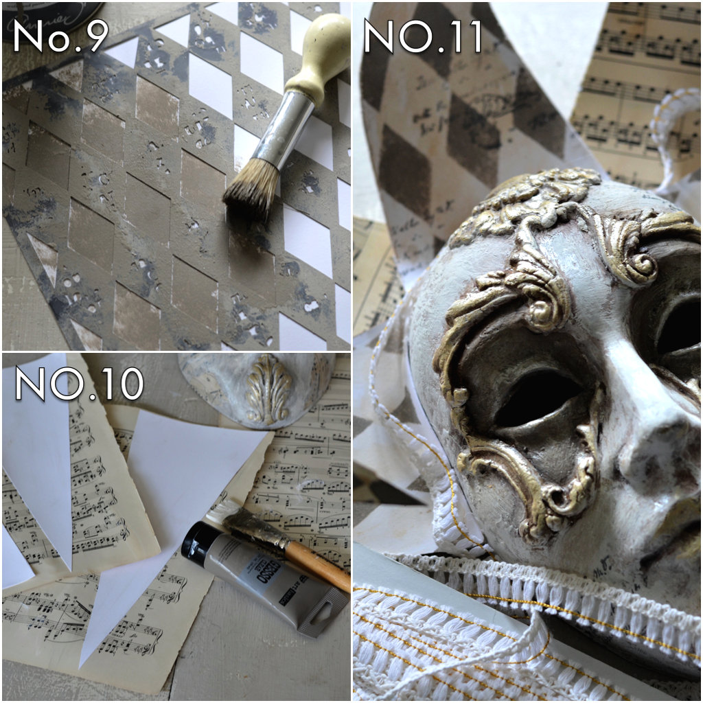 Create the points using whitecardstock, then cover in book paper with clear gesso by Finnabair. Apply a stenciled pattern using paint and the Harlequin stencil by Finnabair. Then add trim to hide the ends around the top of the mask.