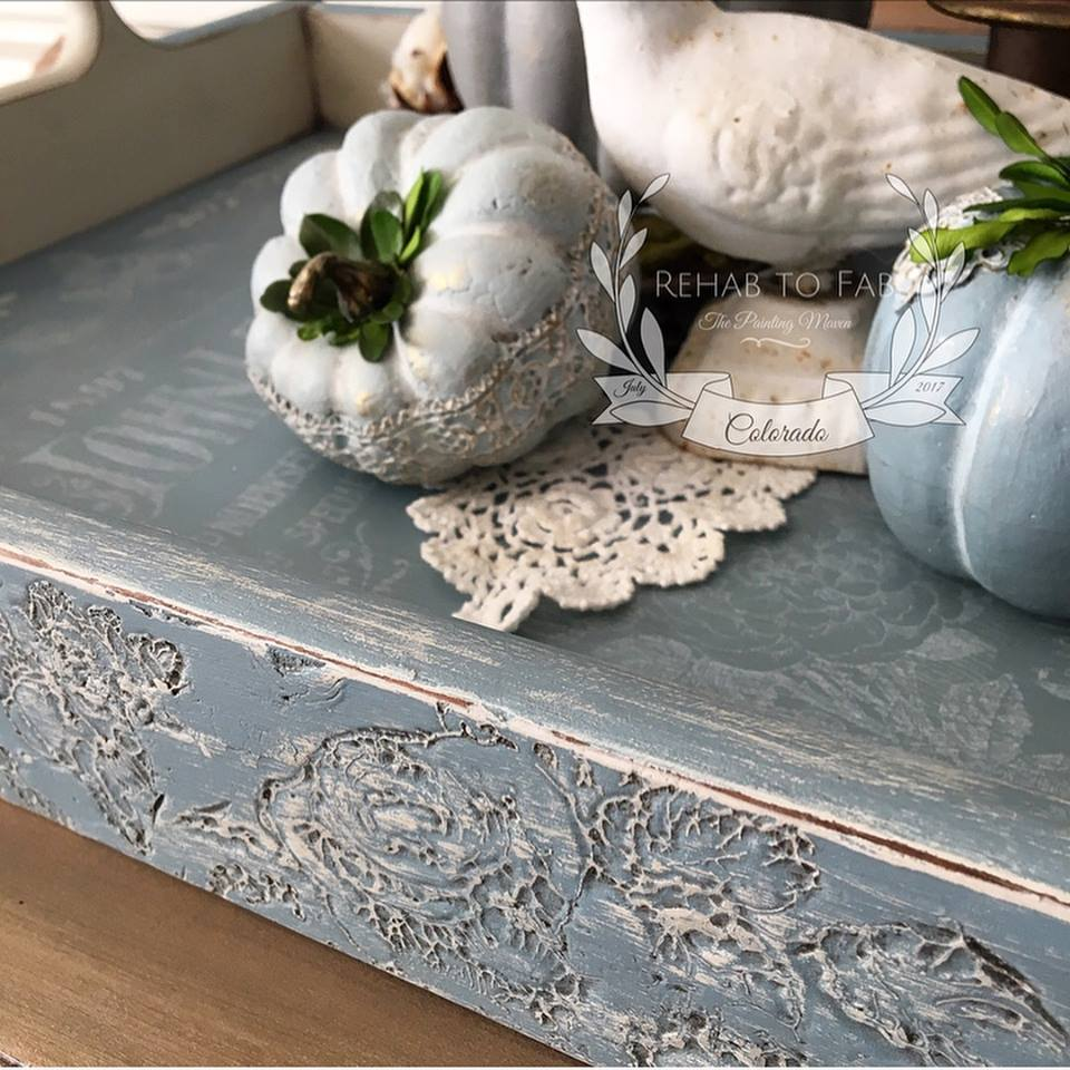 Add a bit of wax to the impressions on the sides as well. Layer paint colors as you wish. Use the colors you love or that match your home decor. Any combination would work and Fusion paints are high quality so no need to worry!