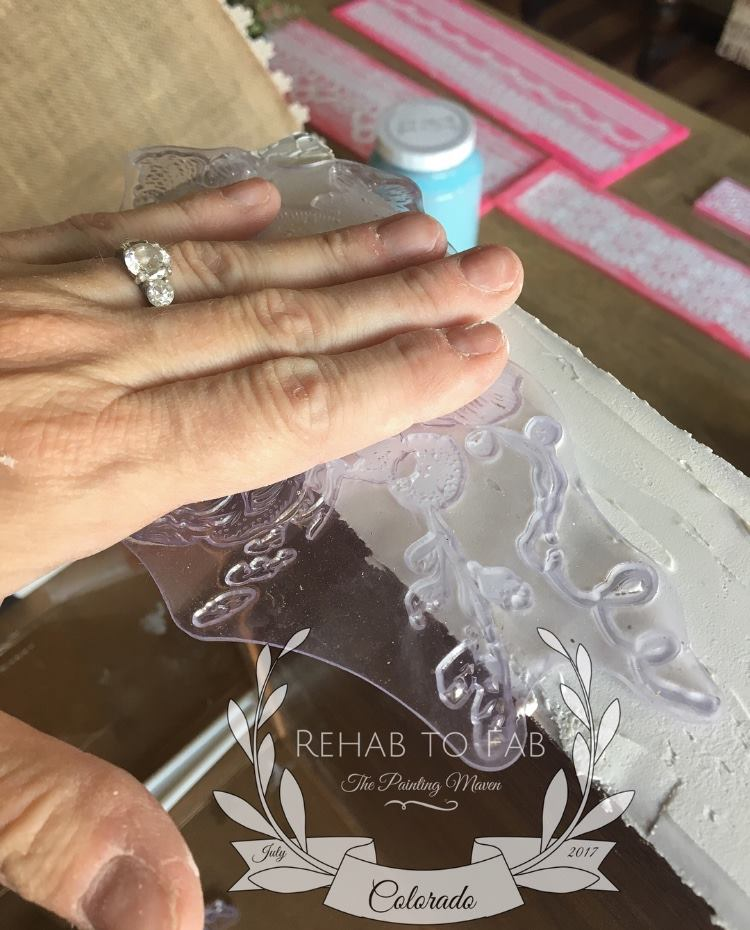 Gently, press the Floral decor stamp (815745) into the paste. Then lift carefully to see the stamp impression in the paste. Repeat this until you are happy with the design and do this to both sides of the tray (the long sides). Be sure to clean your stamps soon after the application with warm water and mild soap...