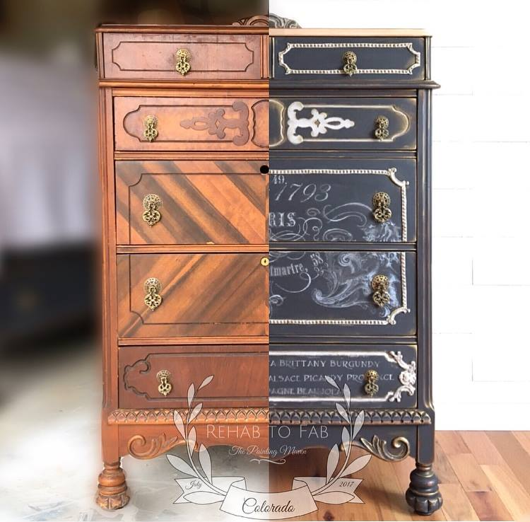 Today, we are featuring a gorgeous makeover by Stephanie Coon of Rehab to Fab. See how she transforms an old worn out dresser to a stately showroom piece using decor moulds, Fusion paints, a white transfer and Art Alchemy wax. Her ideas are always so inspiring!