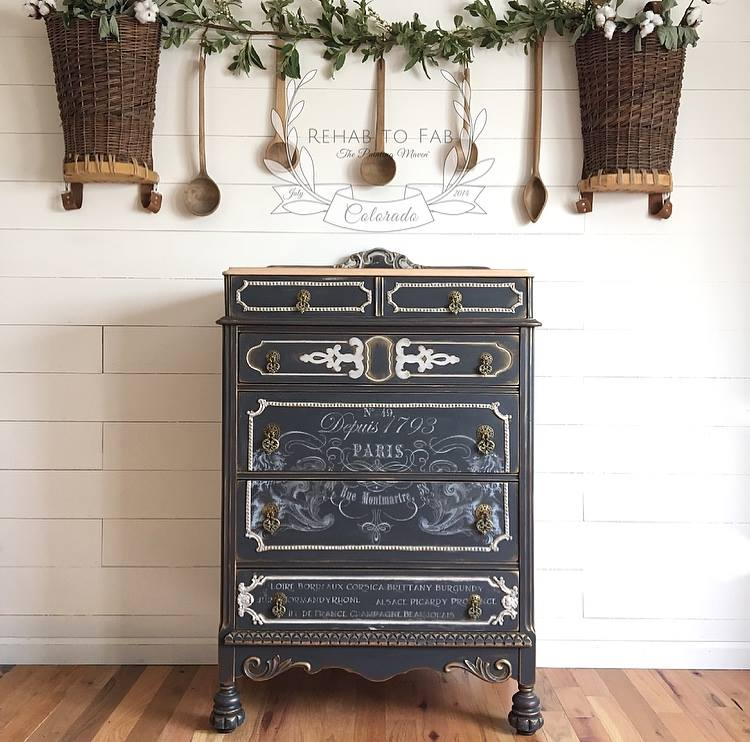The finished piece is absolutely gorgeous! We hope that today's post inspires you to transform your own furniture or thrift store finds, into something fabulous too.  Be sure to follow Rehab to Fab for more ideas, techniques and inspiration here:  Facebook: https://www.facebook.com/RehabtoFab/   Find a Prima Redesign retailer near you: https://www.redesignwithprima.com/where-to-buy/   Prima Products:  816339-White Transfer-Petit Vin Wide  814991-Paper Clay  815325-Art Décor Mould-Moulding 1  815332-Art Décor Mould-Nautica 2  814809-Art Décor Mould-Baroque  814816-Art Décor Mould-Baroque 5  963958-Art Alchemy Metallique Wax-Vintage Gold   Fusion Mineral Paints:   Ash and Lamp White