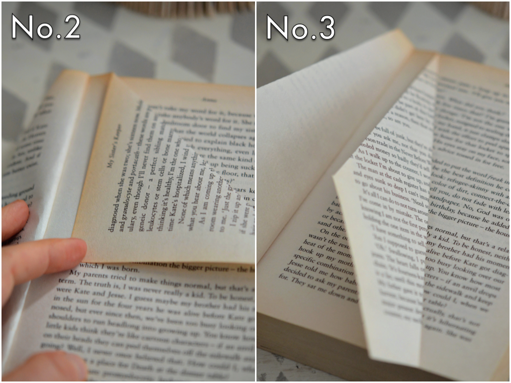 Create folds using the pages in the old book. Fold once toward the spine creating a triangle, then fold again at an angle.