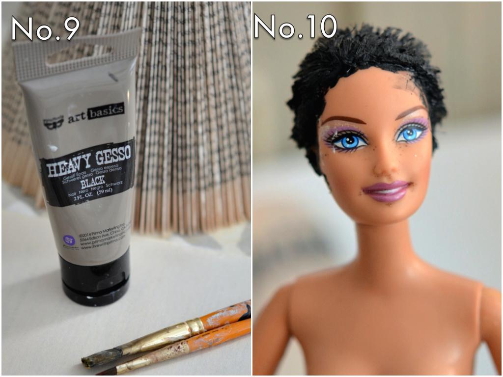 Use Finnabair's heavy black gesso to paint the hair black...