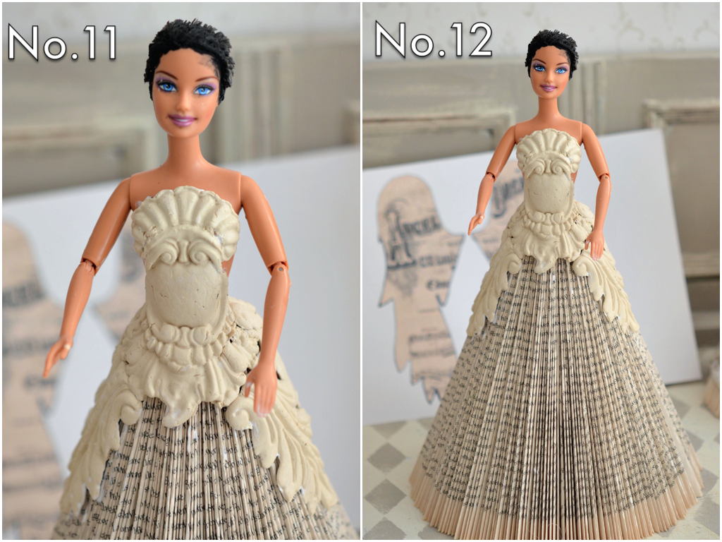 Using paper clay and moulds, create decorate appliques to cover the torso of the doll and add some fun detail to the skirt using strong glue...