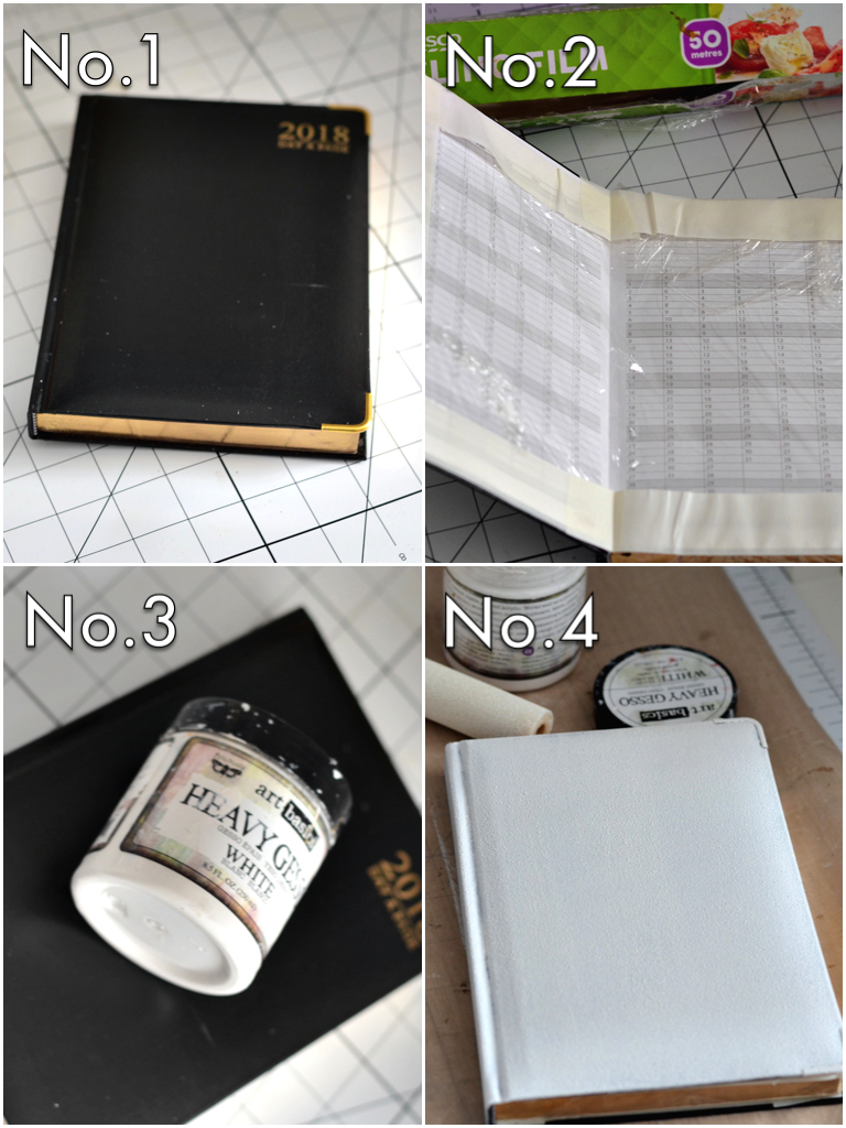 Cover the inside front and back covers to protect them from getting any paints or smudges (basically from any unwanted oopsies). Prime the covers using the Art Basics Heavy Gesso in white by Finnabair. This will not only protect the surface but also add tooth for any art mediums to adhere to it better. And it completely covers the unwanted color on the cover for a fresh clean surface to work on.
