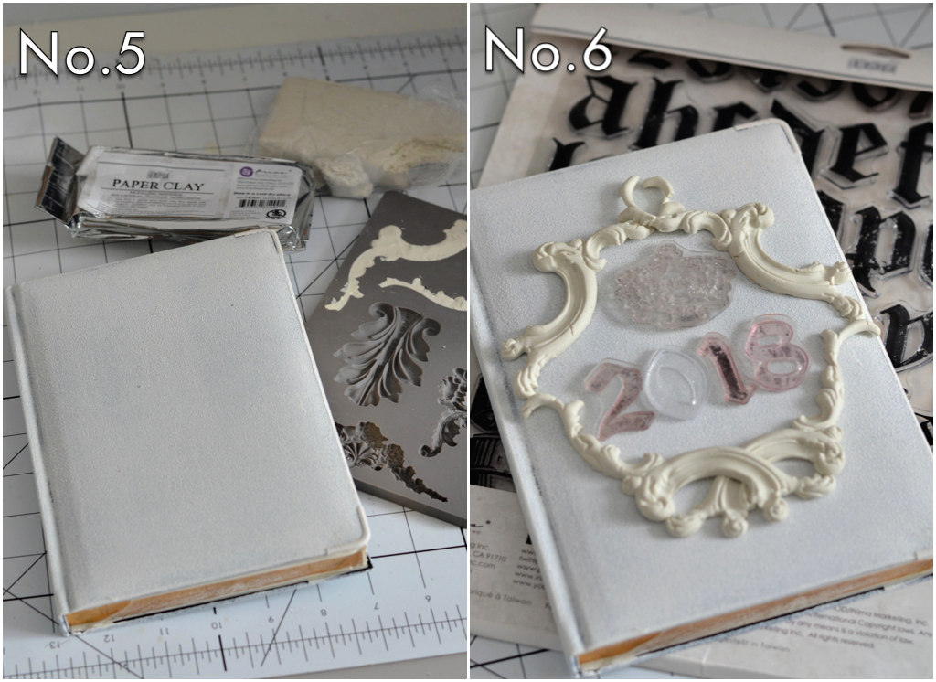 Use the IOD paper clay (814991) in the Baroque 4 IOD Decor mould (814779) to create the unique design on the cover. Apply with a strong adhesive or gel medium. Then set up your stamp design using IOD Decor Stamps-Alpha and Louis (815417 and 814335). Use an embossing ink to stamp with...