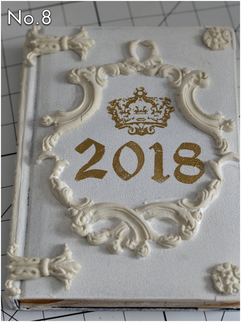 Glue all of the designs you wish to use on the book, including the binding. Love the added accents added to the left side to look like hinges (814786-Baroque Mould 2)