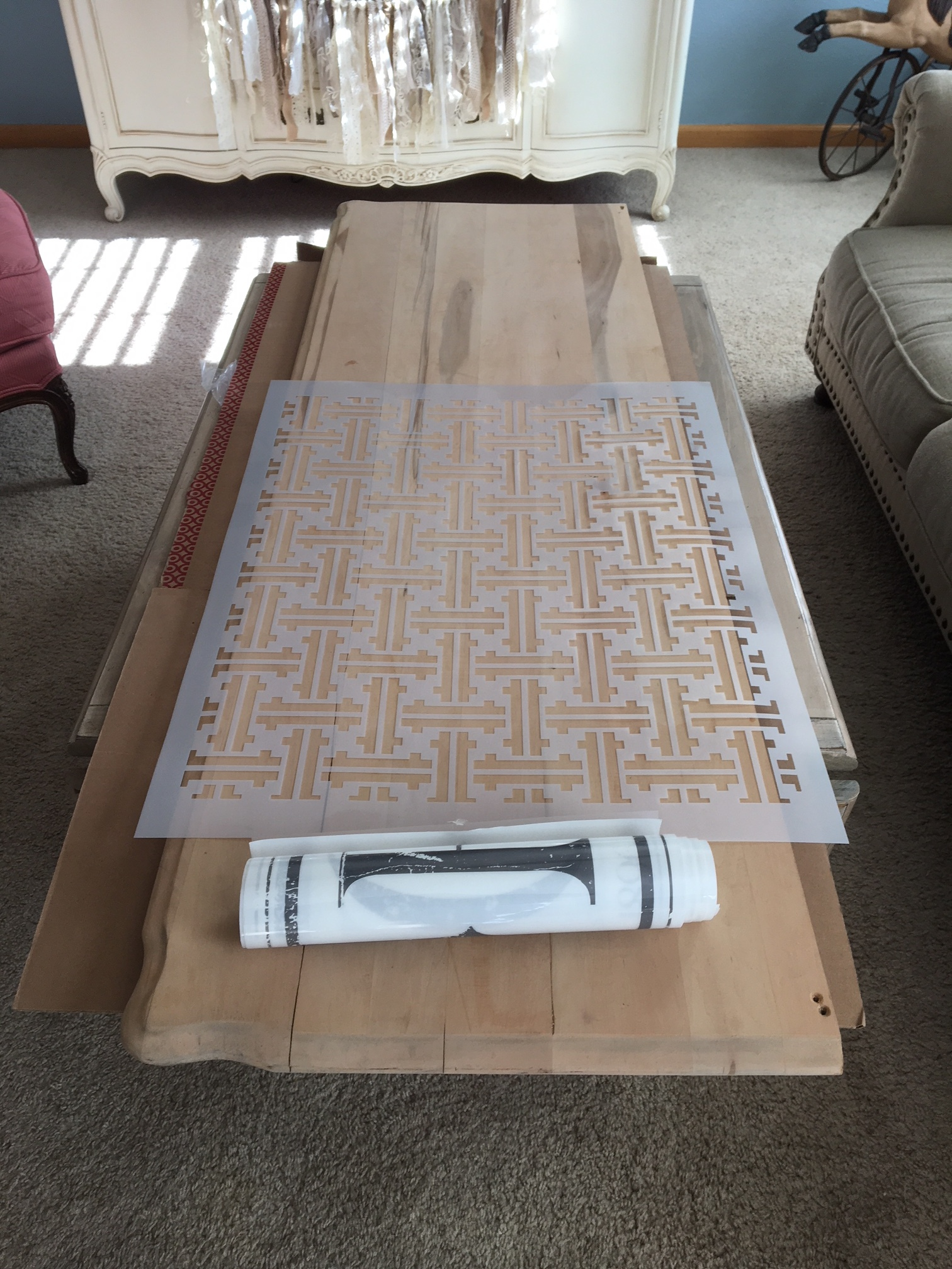 She grabbed one of our new [re]design stencils and an IOD decor transfer to get the plan rolling. This stencil is a basket weave style on a large scale for larger furniture or DIY home projects..And it is made of 14mL mylar for durability and strength....