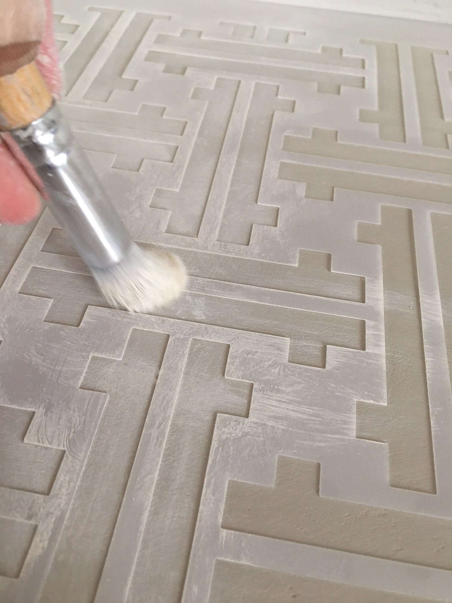 Paint the background in Putty and then use Raw Silk for the stenciled pattern. Add the second color lightly for a soft, distressed look....