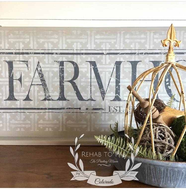 To top it off, add an IOD Decor Transfer. The Farmhouse transfer (815509) adds the perfect finishing touch and the charcoal pops against the two tone neutral background. Plus Stephanie is amazing at staging too!  See her gorgeous pieces and step by steps on her page:  Rehab to Fab on Facebook