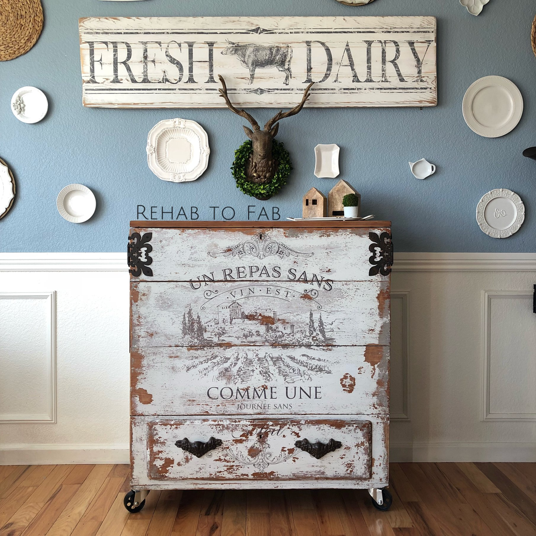 """""""A meal without wine is like a day without sun"""". Our new [re]design transfer, Vin (633097) translates to that lovely quote. And we are loving the way that it looks on this Rustic Chest by Stephanie Coon from Rehab to Fab. Read on to see what she did to transform this piece..."""
