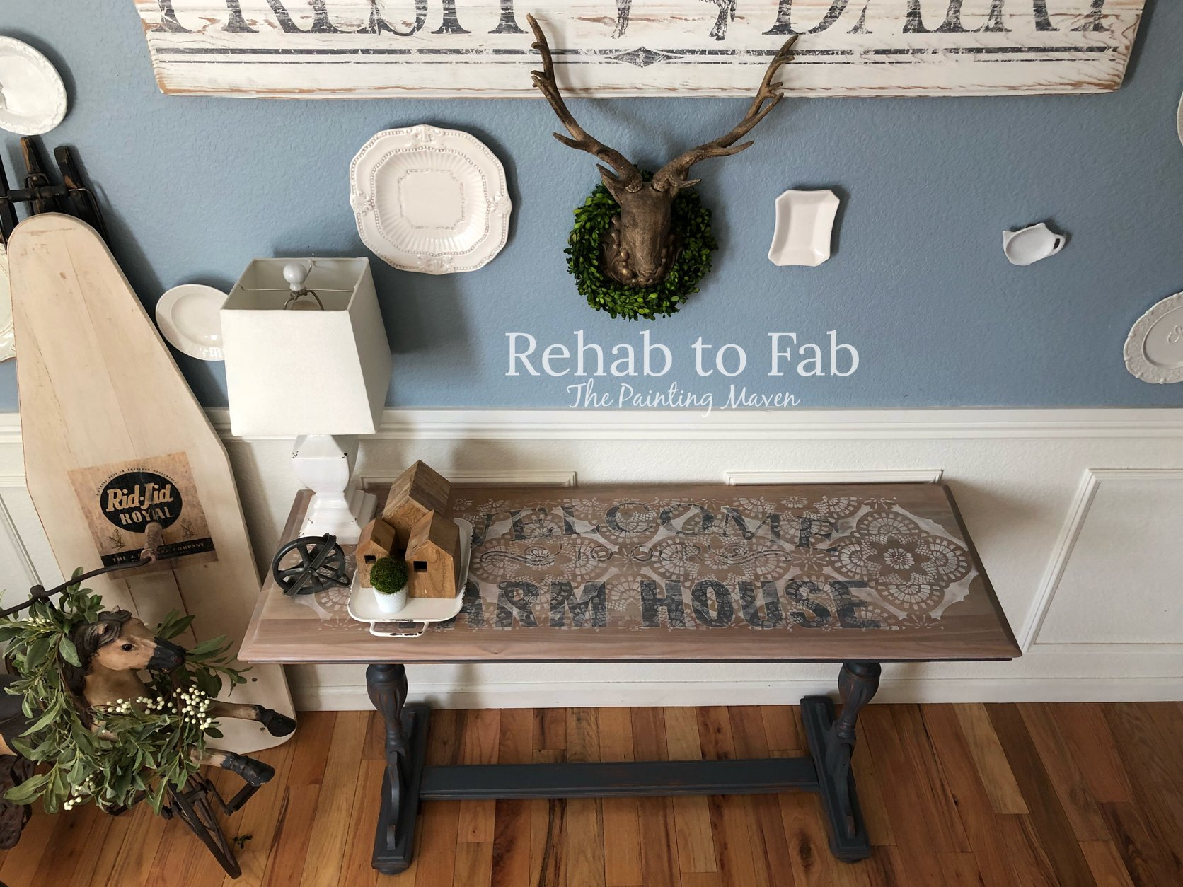 We just LOVE this table that Stephanie Coon from Rehab to Fab refurbished using our [re]design transfer, soon to be released stencil and Kristi Kuehl paints....What an amazing piece to put in a hall to welcome guests as they enter your home! Here is what the Painting Maven did...