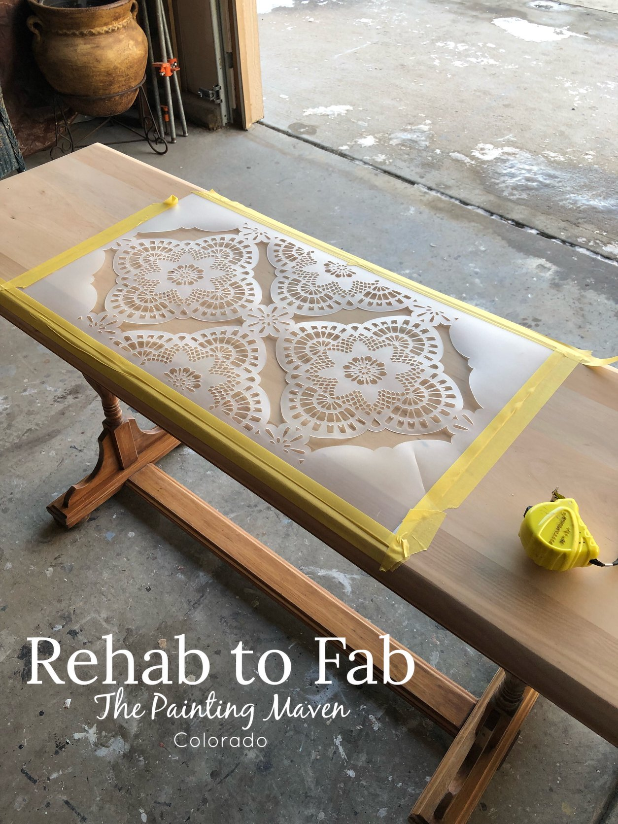 Stephanie started by laying out her designs. First, she chose a soon-to-be-released [re]design stencil....