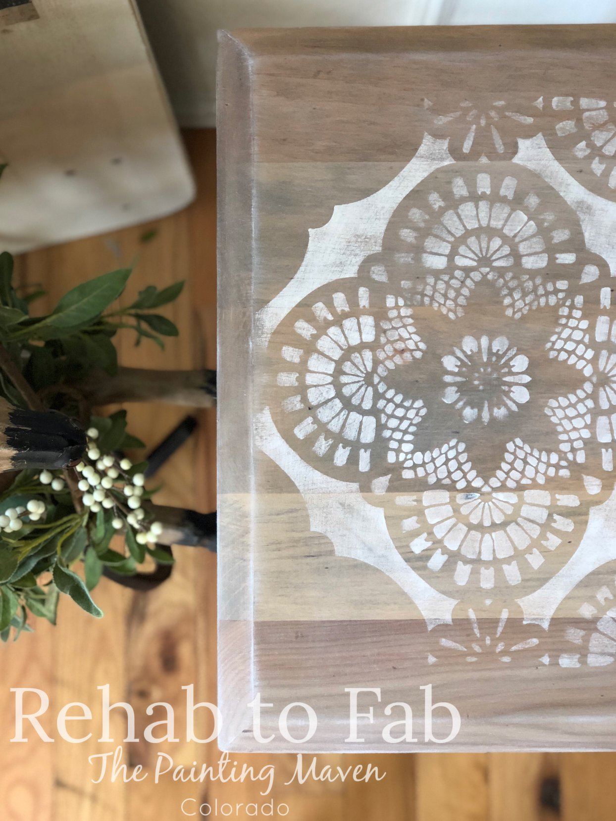 Here is a closeup look at the stencil design over the wood. Beautiful and soft!
