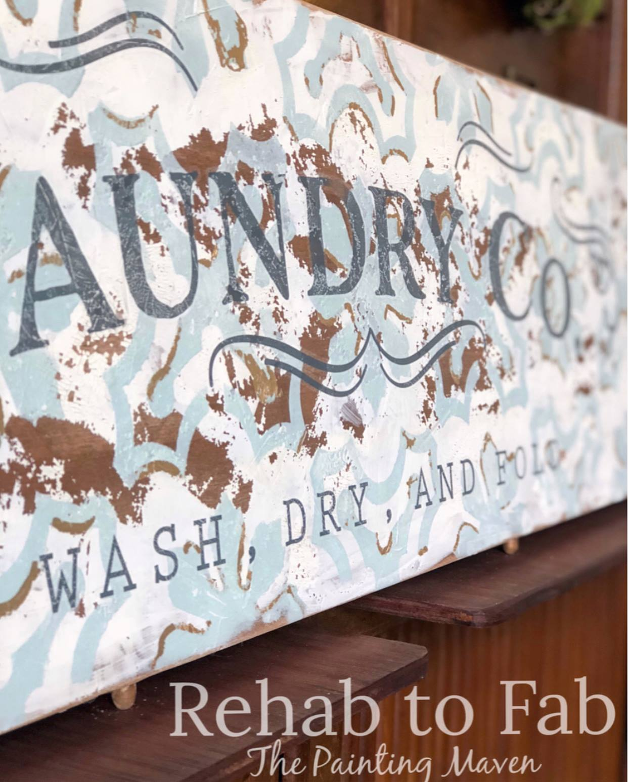 Stephanie from Rehab to Fab has another amazing project to share with our readers, using the new [re]design transfer, stencil (being released in May) and fun mediums from The Plaster Paint company and more...She transformed an old table leaf into a beautiful sign for her home.  A while back, Stephanie created a beautiful Farmhouse sign for us, featured here on the blog, so you may want to  check that out too.   You are going to love her techniques and ideas for this project today, so read on [re]designers!