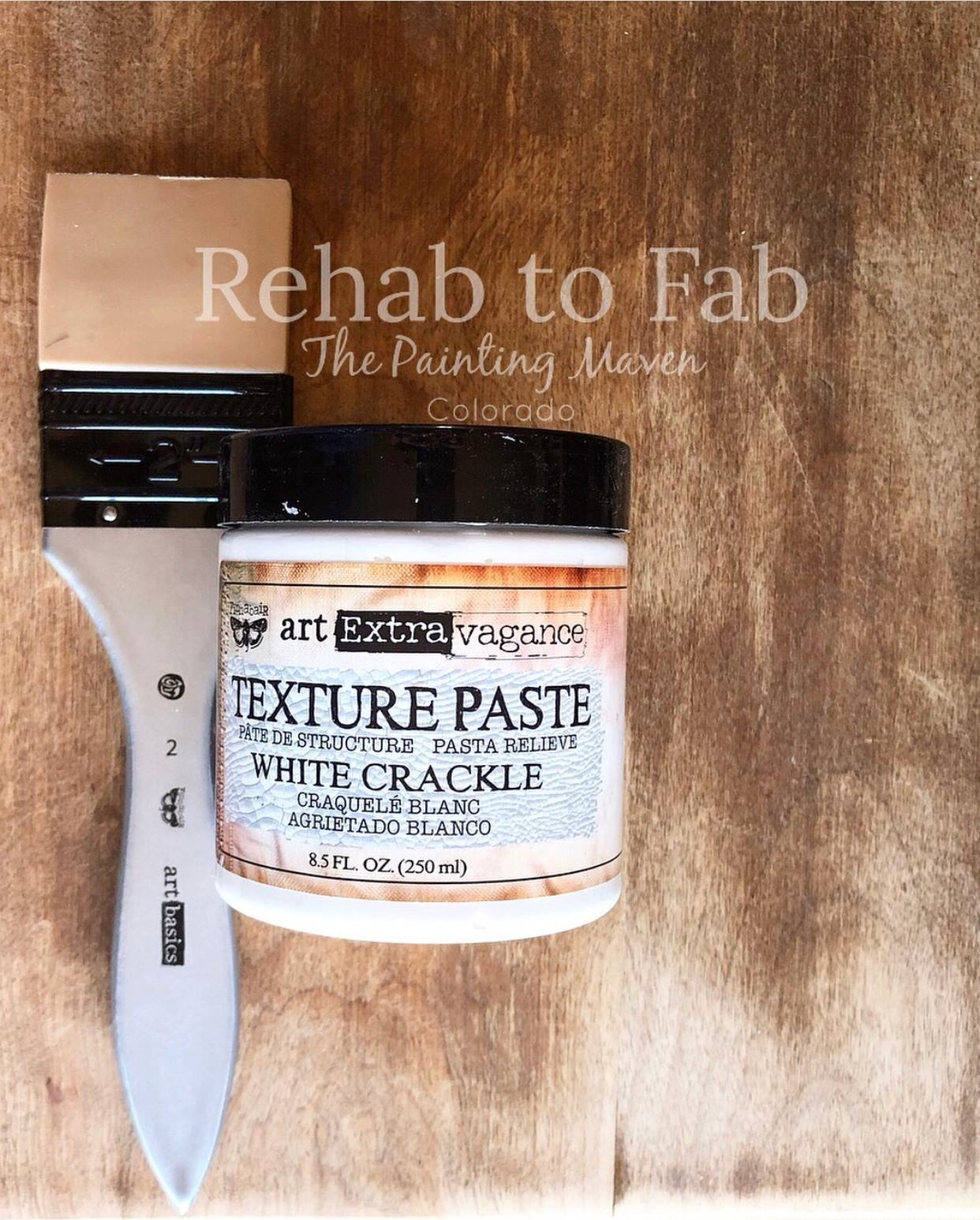 Stephanie always preps her surfaces for facelifts. She is a true believer in prepping, no matter what you are working on. Use a good cleaner and give your surfaces a good sanding to start. Once that was done, she added Finnabair's White Crackle Paste to the surface using a 2 inch silicone brush (also by Finnabair for Prima). The thicker the application, the bigger and better the cracks.