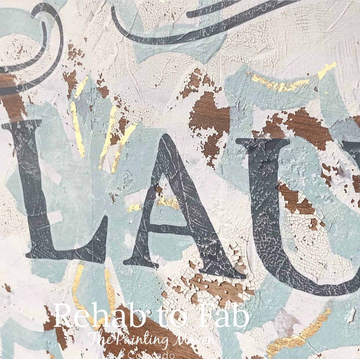 Add the transfer after you have added all the mediums. Simply peel off the backing, rub over the transfer image with a wooden stick and peel away the top layer to reveal your image. Give the image a light sanding to add a bit of a distressed look to match the chippy aged look of your background.