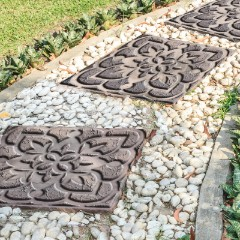 Add the pavers to your landscaping for a one-of-a-kind look! With 10 stencil styles to choose from, you could mix and match for a fun twist. And this could be a really fun family project too.