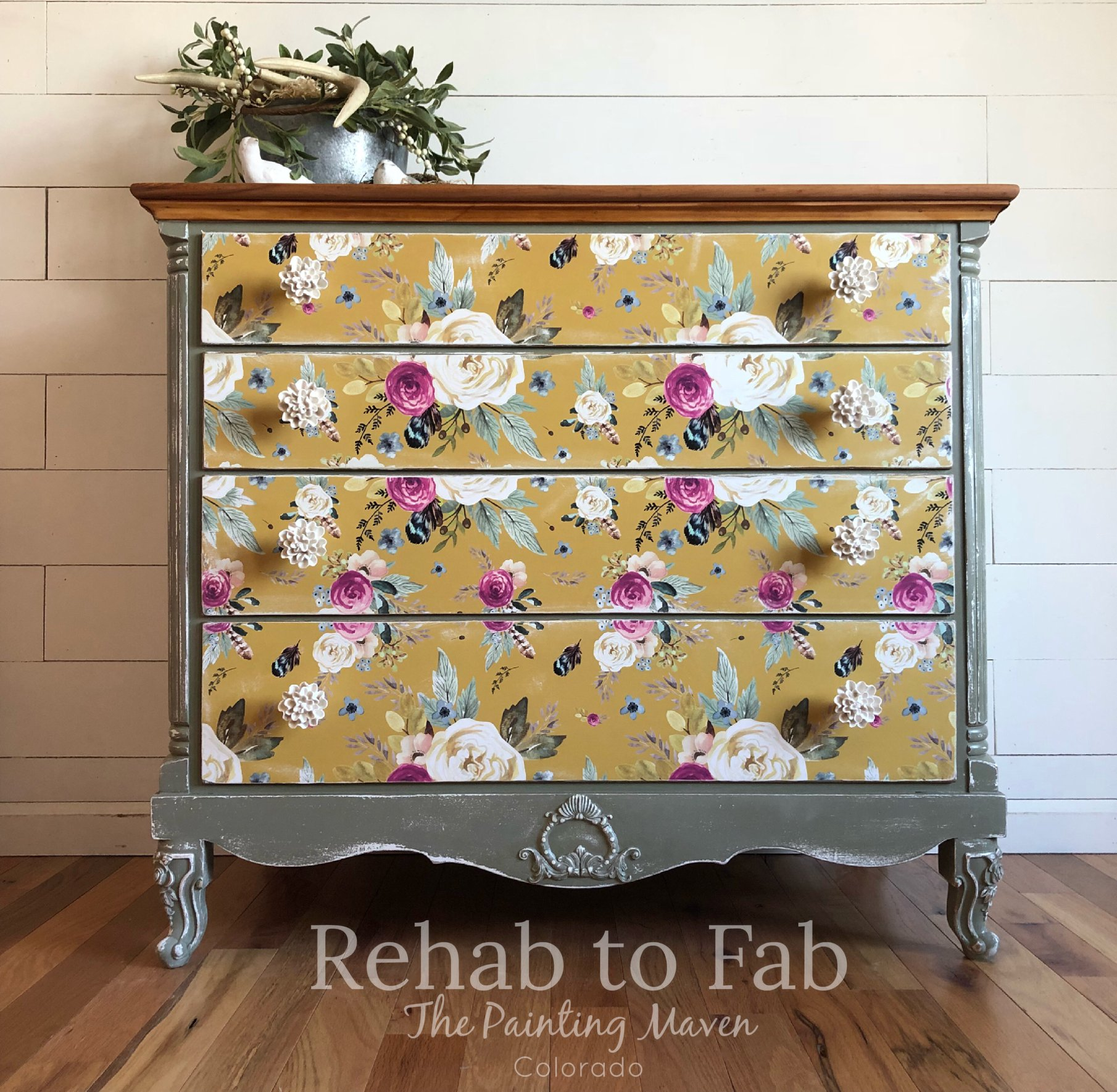Home decor team member,  Stephanie Coon of Rehab to Fab  used an applique at the bottom of this pretty dresser to add fun detailing that adds so much personality to her piece.