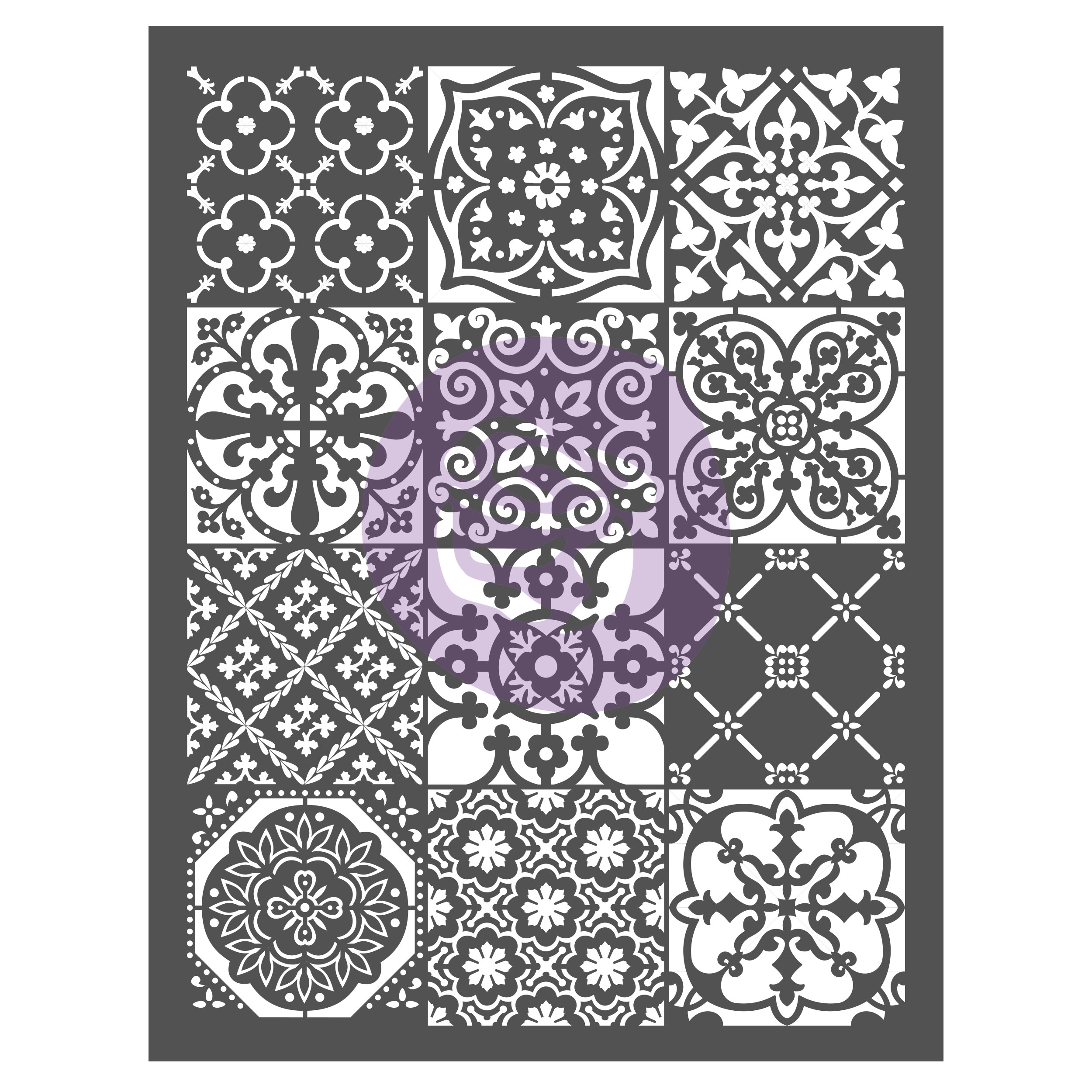 This is our Patchwork Stencil-633332. It has a mixture of fun patterns and highly detailed designs. Use with any color combinations to go with the colors in your decor...