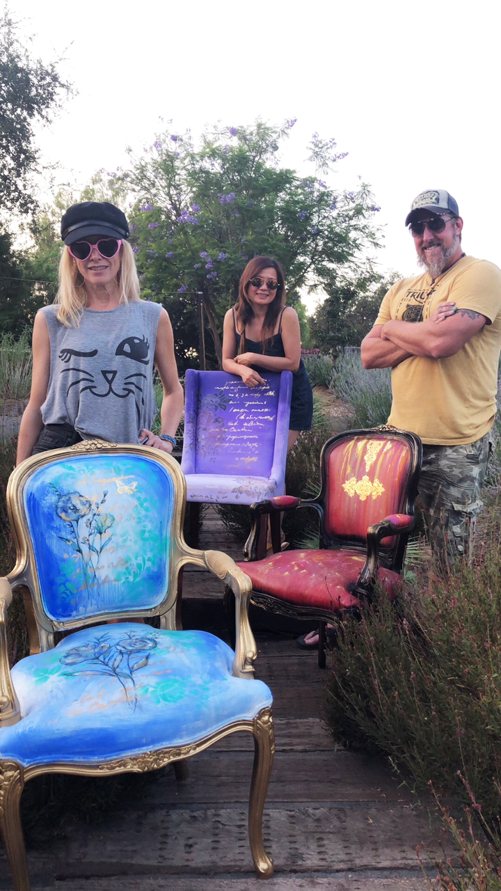 Last weekend, we hosted three amazing artists at our workshop facility in Temecula and gave them the chair challenge! They all stepped up to the plate and exceeded our expectations with their beautiful results. Meet Christine Adolph, Todd Robey and Molly Indra.