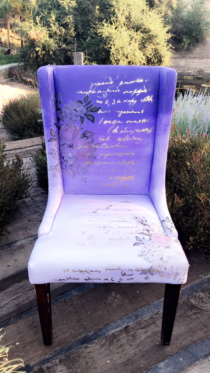 """Notice the [re]design floral transfers framing in the chair, they add the perfect touch of softness and blend perfectly into the colors. She also used one of """"soon to be released"""" stencils over the ombre painted surface and transfers with some gold spray paint."""