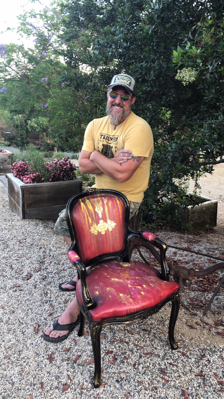 Todd Robey took a shot at this chair and dubbed it his man cave chair. We certainly think it's a throne fit for a king. Love the drips, color pours and added regal touch using a gold [re]design transfer.
