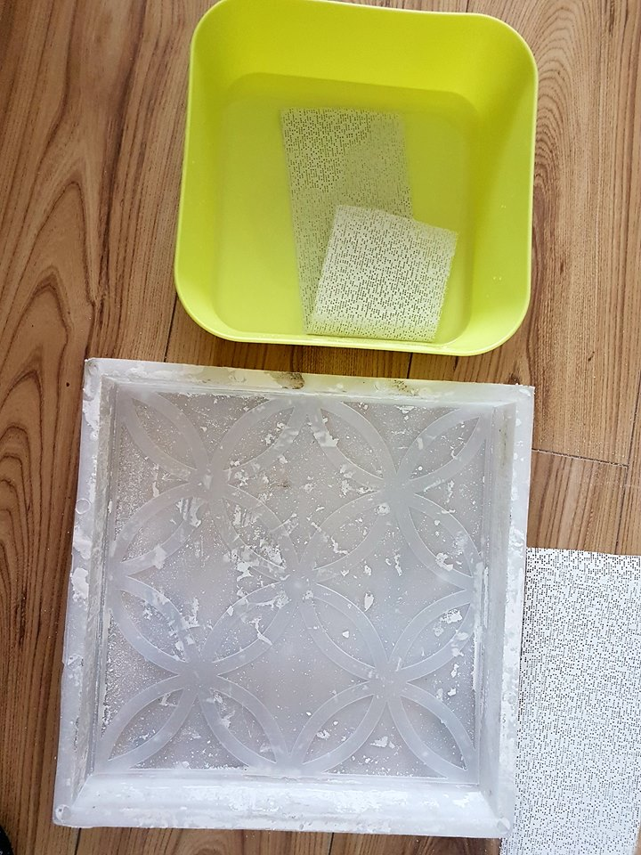 Prepare your plaster of paris according to packaging directions-water and powder mixed together. Make sure you use a large enough container to run the bandages through the mixture. Place the stencil in the mould, dredge the bandages into water and then dredge again in the plaster of paris mixture.