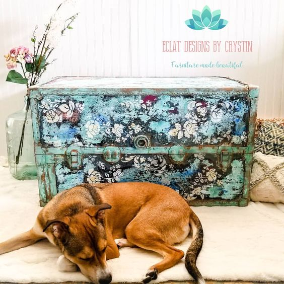 Isn't this the coolest trunk? Our home decor team member, Crystin Min gave it a makeover using various paint colors, patina, Finnabair crackle pastes and the [re]design with prima stencils.