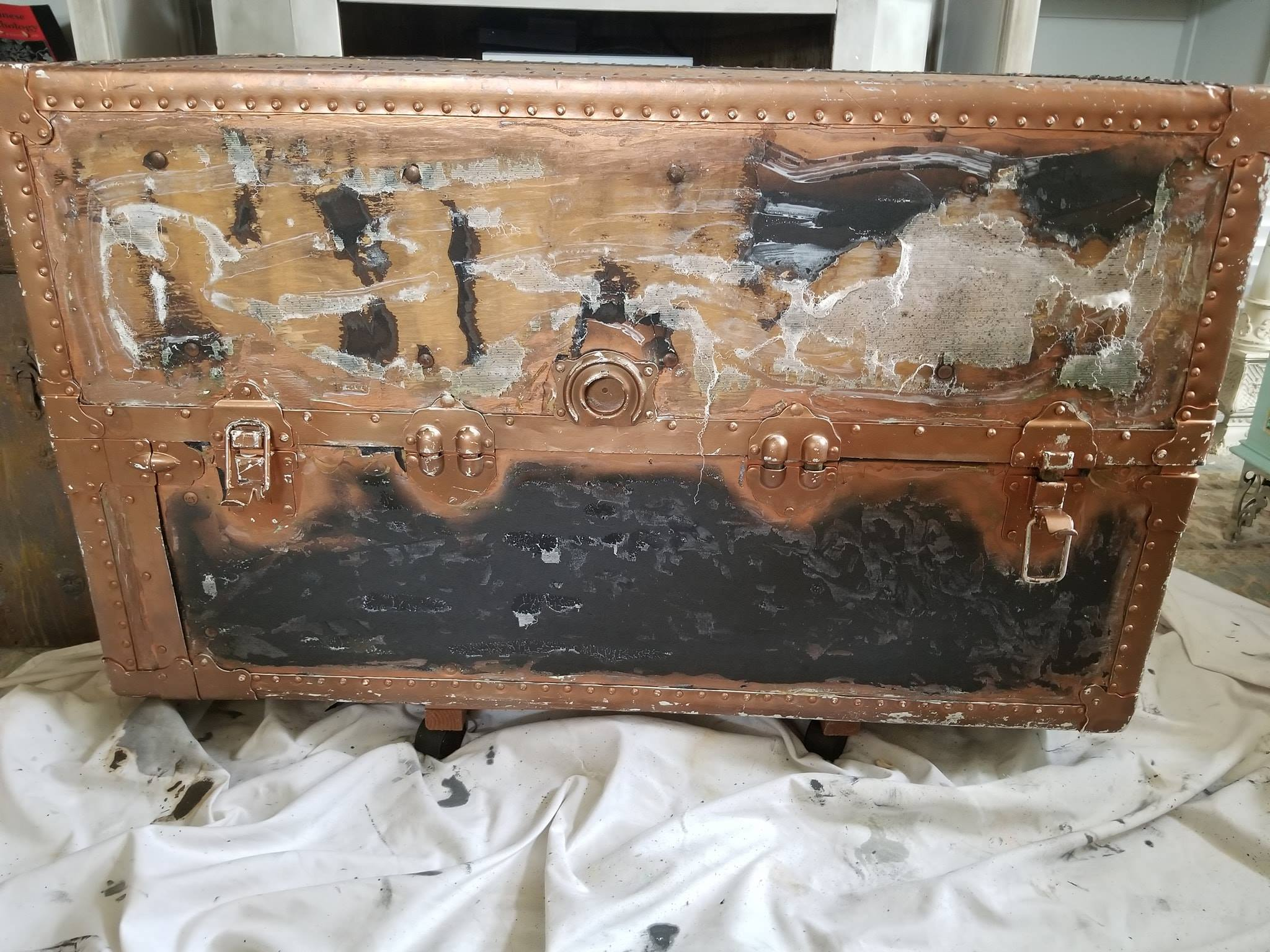"""Here is the before shot of the trunk. Crystin saw the possibilities and went to work. It had really great hardware or as we say, """"good bones""""..."""
