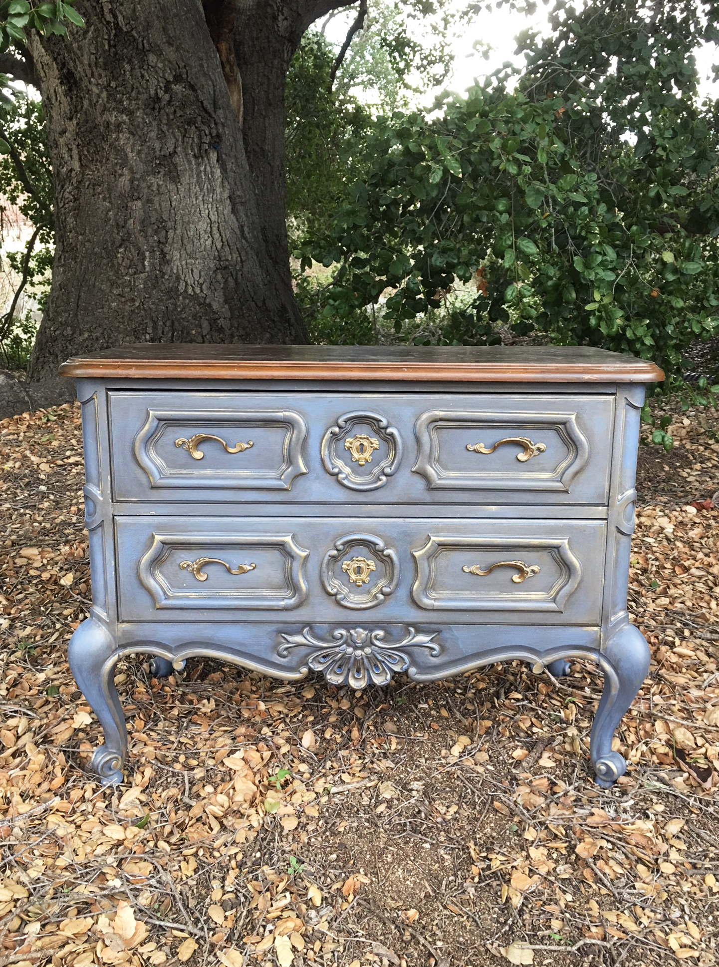 Have you seen the Painted Lady? This beautiful piece was found in Arizona and brought back in the truck to our workshop in Temecula for a much needed makeover. Unfortunately, we went to town on it and forgot to take a before pic, but that's OK....this post is about a fun technique we think you will love and we did take photos of the process-phew!
