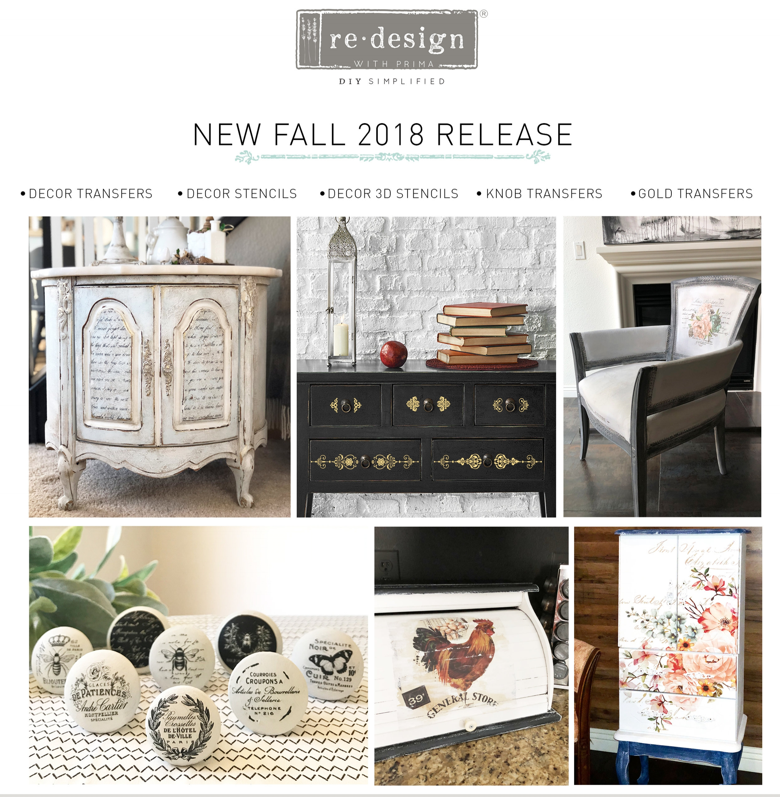 We are bursting at the seams with excitement about our new Fall releases for [re]design with prima®! This is part 1 of our release, showcasing new and innovative transfers we designed for all of you [re]designers! Let's take a look at these fab new products...