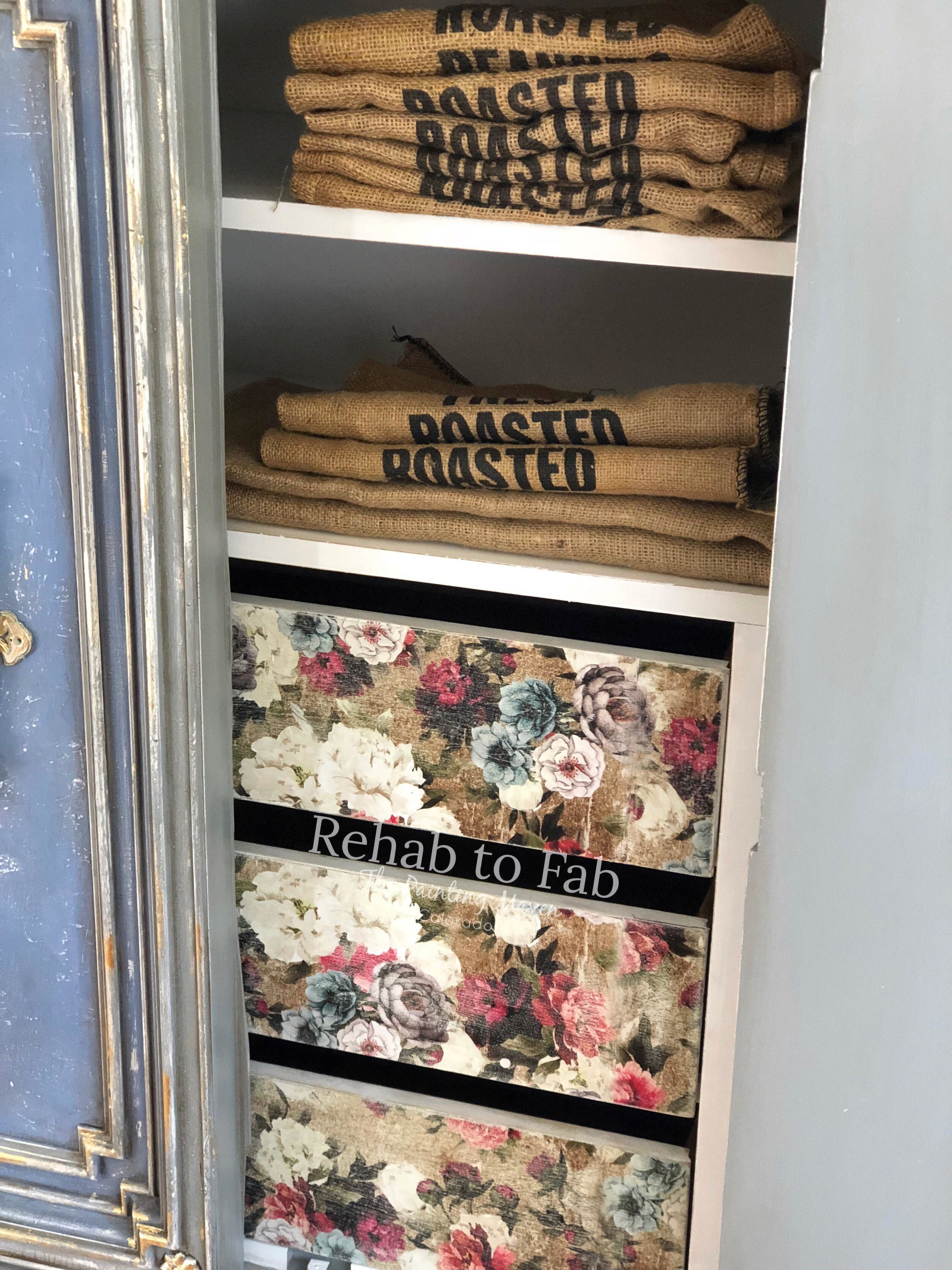The Tea Rose Garden transfer comes in 3 sheets of continuous floral patterns for easy application with stunning results (as you can see)! And you can antique the transfer using a very fine grit sandpaper...