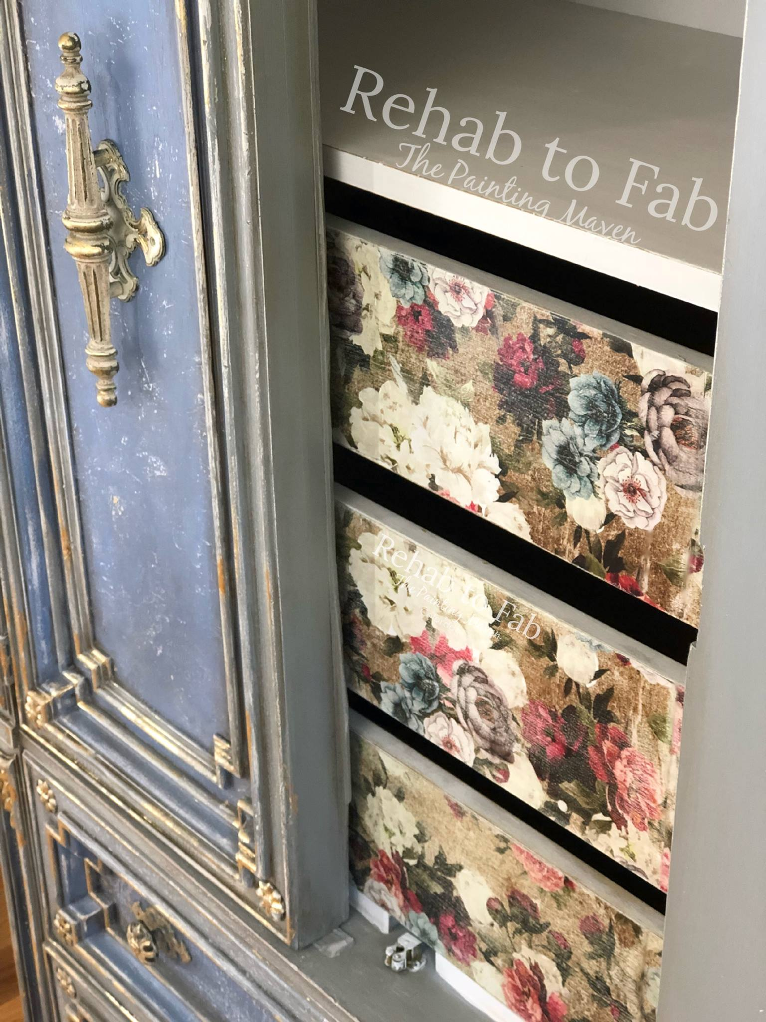 The transfer was added to the drawers inside the wardrobe and they look pretty amazing with the Dixie Belle paint colors she chose to use. Learn more about the process  here.