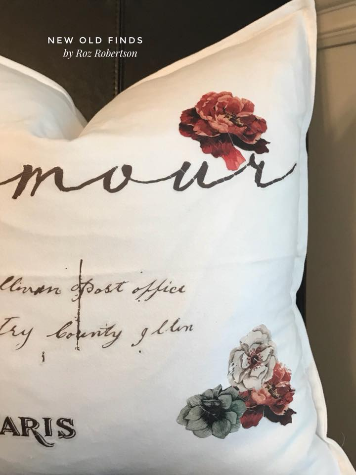 The transfer patterns can easily be cut apart so you are able to use what you like on your projects. Roz cut out some flowers from the new transfer sheet, Tea Rose Garden and placed them around the pillow with some left over script she had from the Bon Jour Paris transfer.