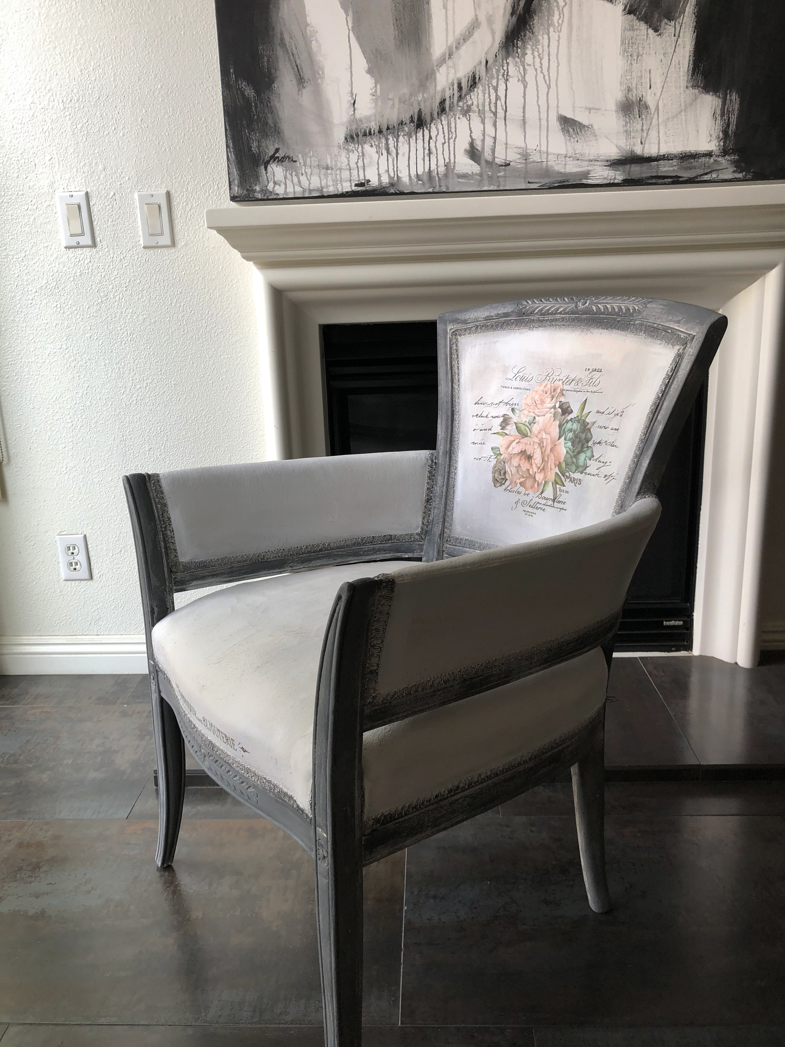 Molly Indra added transfers to this pretty chair. The fabric was painted with chalk style paint, then she added the [re]design transfers and finished with clear wax to seal it with...