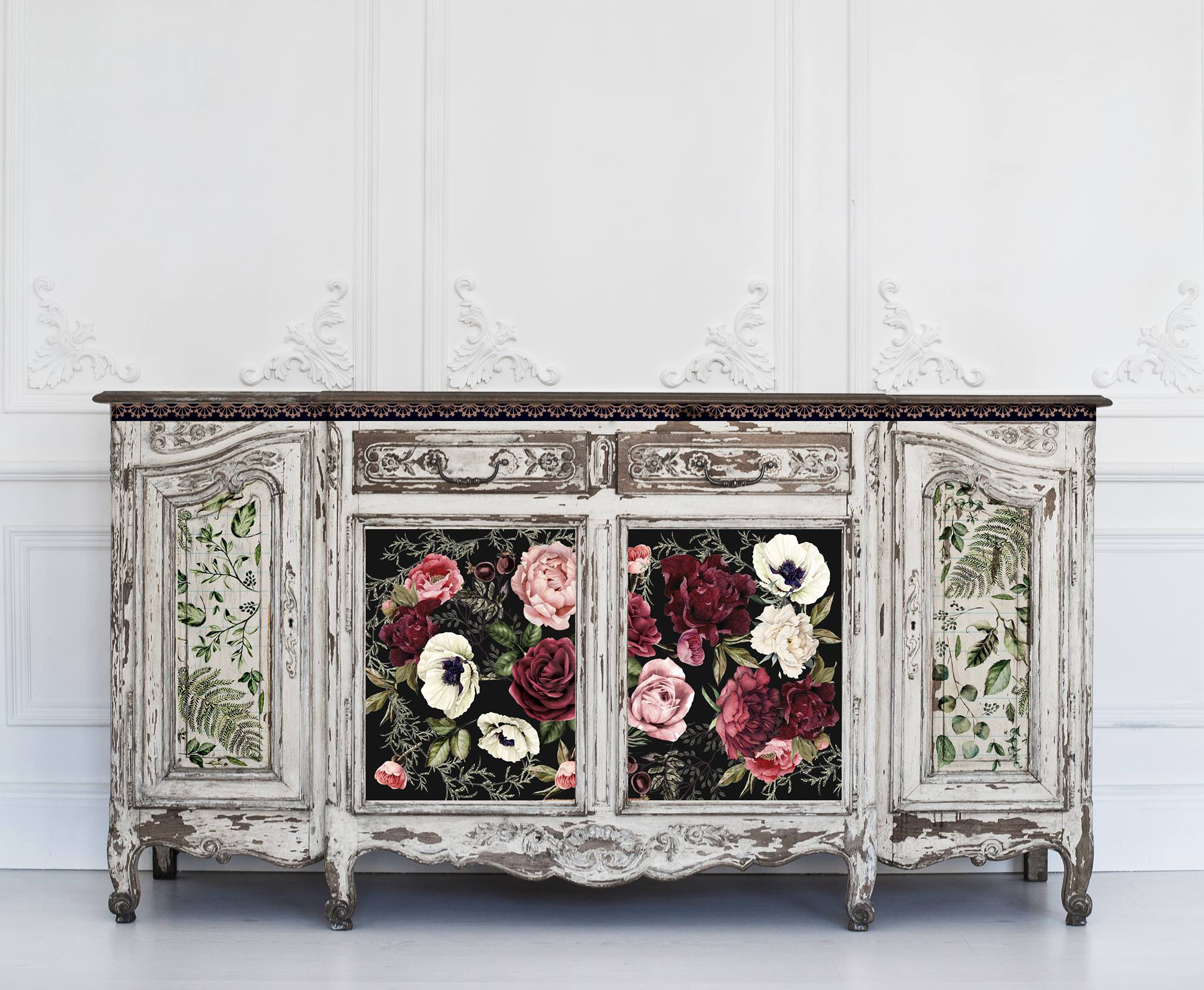 Here, we mixed Dark Romance transfers and Fern Woods on this buffet for a truly stunning effect...The transfer sheets allow you to fill in spaces to add character and charm with ease.. Cut them to your desired size to fit the project area perfectly.
