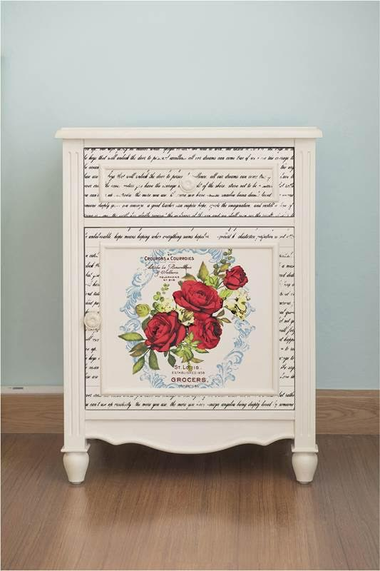 The florals on this make a big impact on a plain little table-the pop of color is just what it needed!