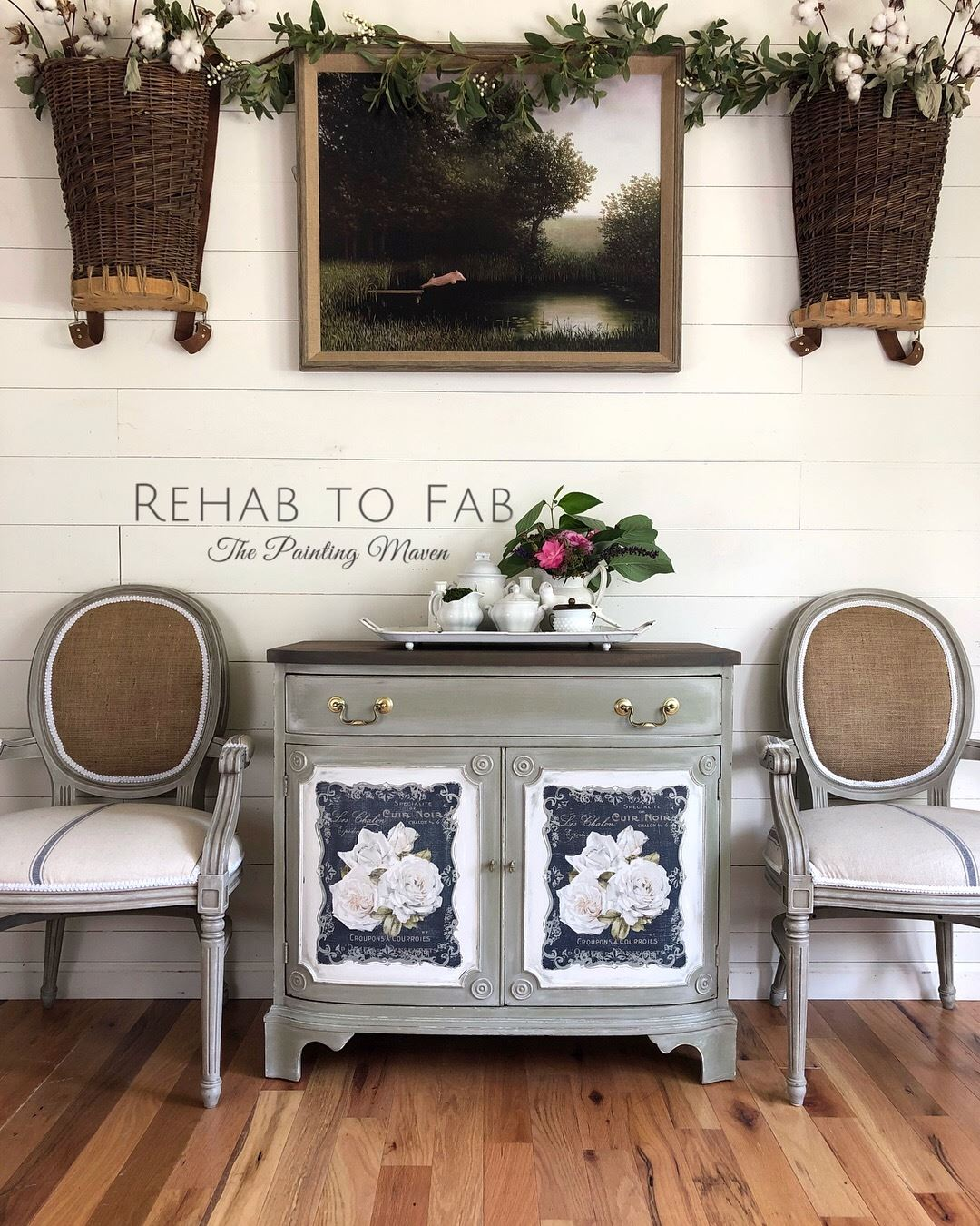 Stephanie paired these [re]design transfers with a mixture of Dixie Belle paint colors on this antique Duncan Phyfe buffet. Her classic color selections and finishes gave it new life...
