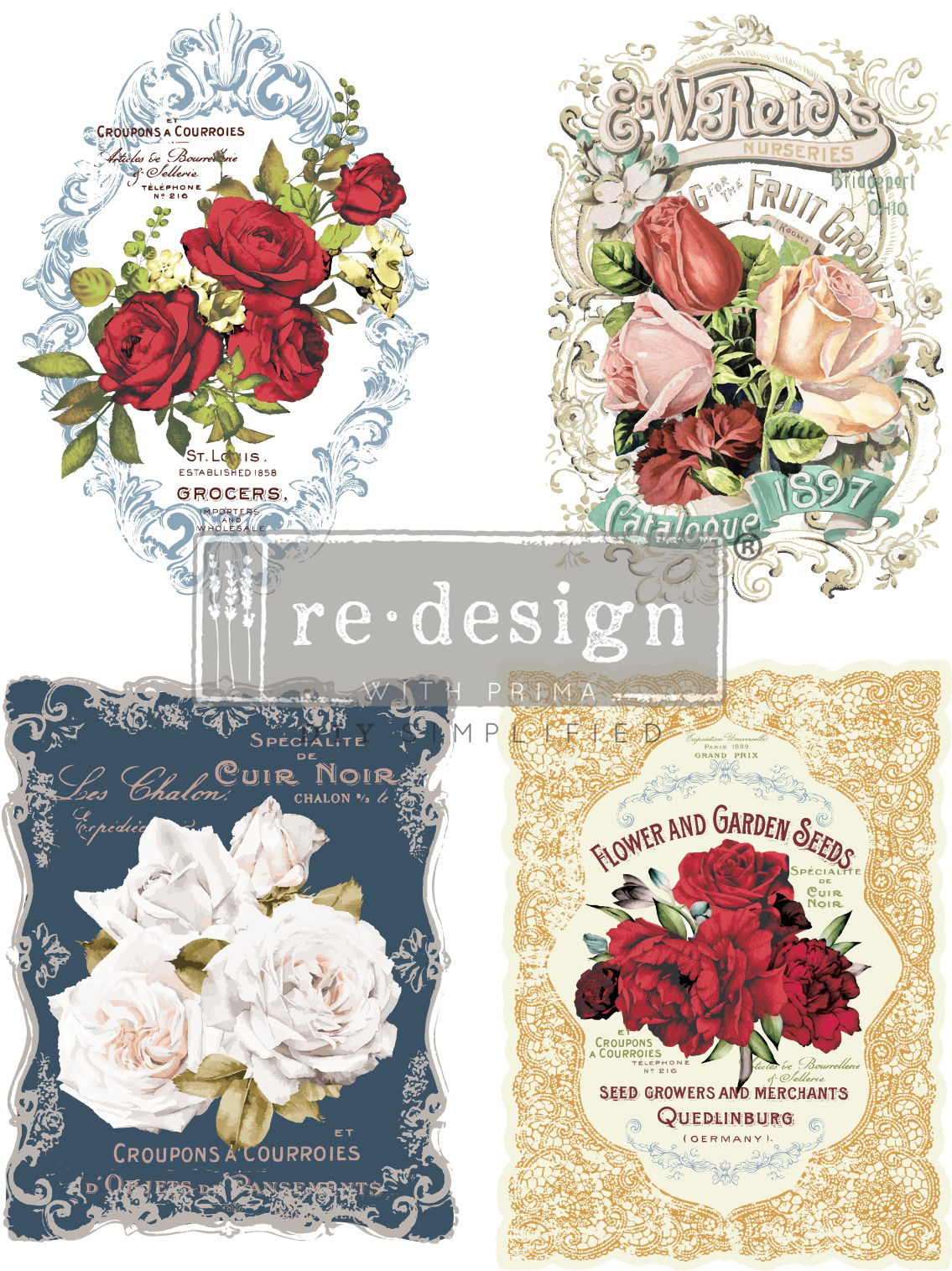 This [re]design transfer set comes with four designs. Stephanie used two sets so she was able to use the same design on both doors of the buffet. This transfer is called Wild Roses (635510).