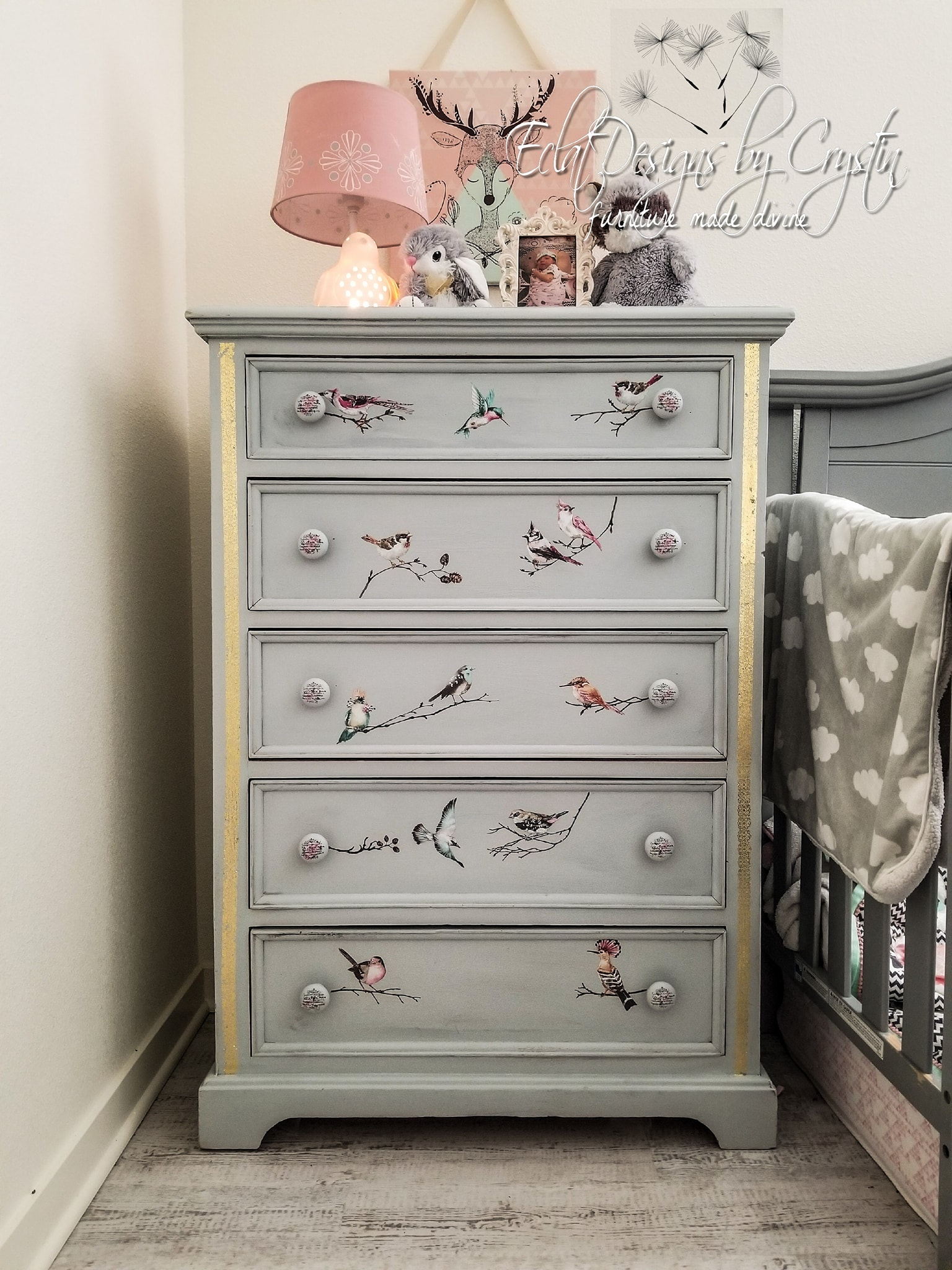 "Crystin updated her daughter's furniture using our Parisian Butterflies transfer along with the ""Inlay Scrolls"" and it's just as sweet as can be!"