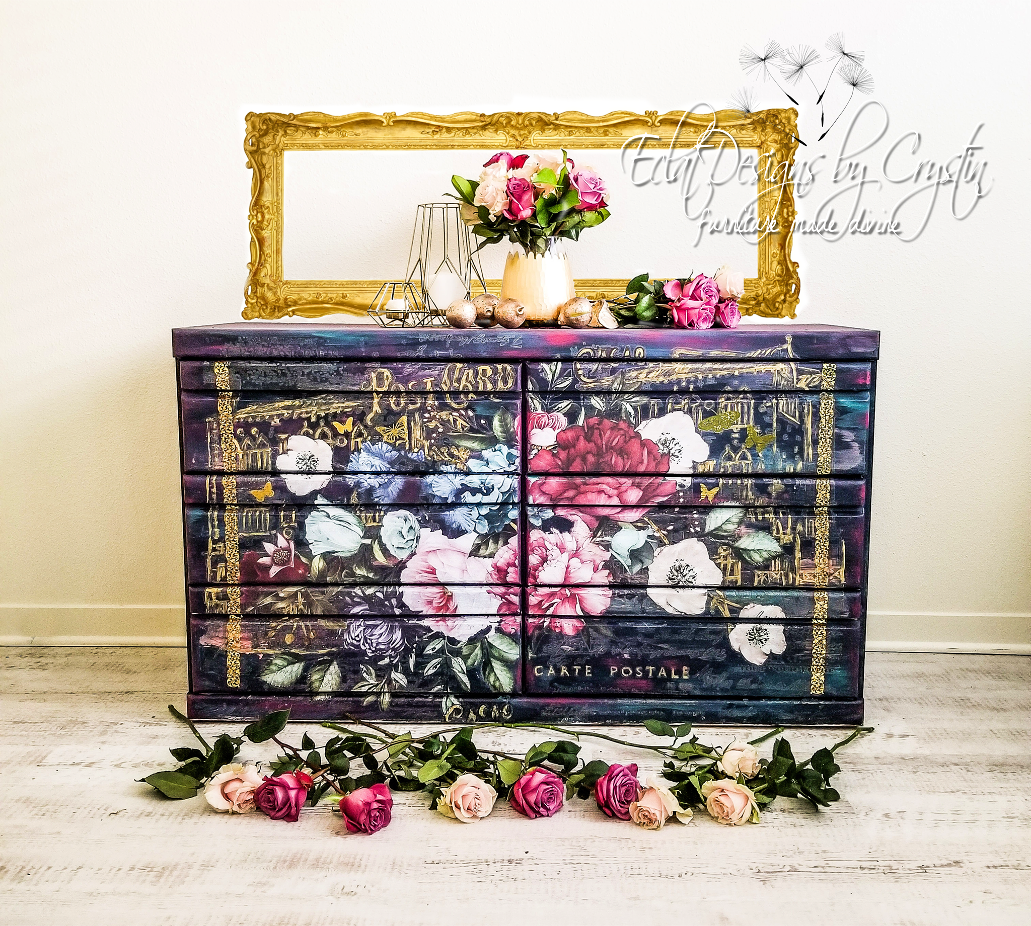 The base of this dresser was prepared using Midnight Blue by Fusion Mineral paint with undertones added using Dixie Belle's Mermaid Tail and Plum Crazy.