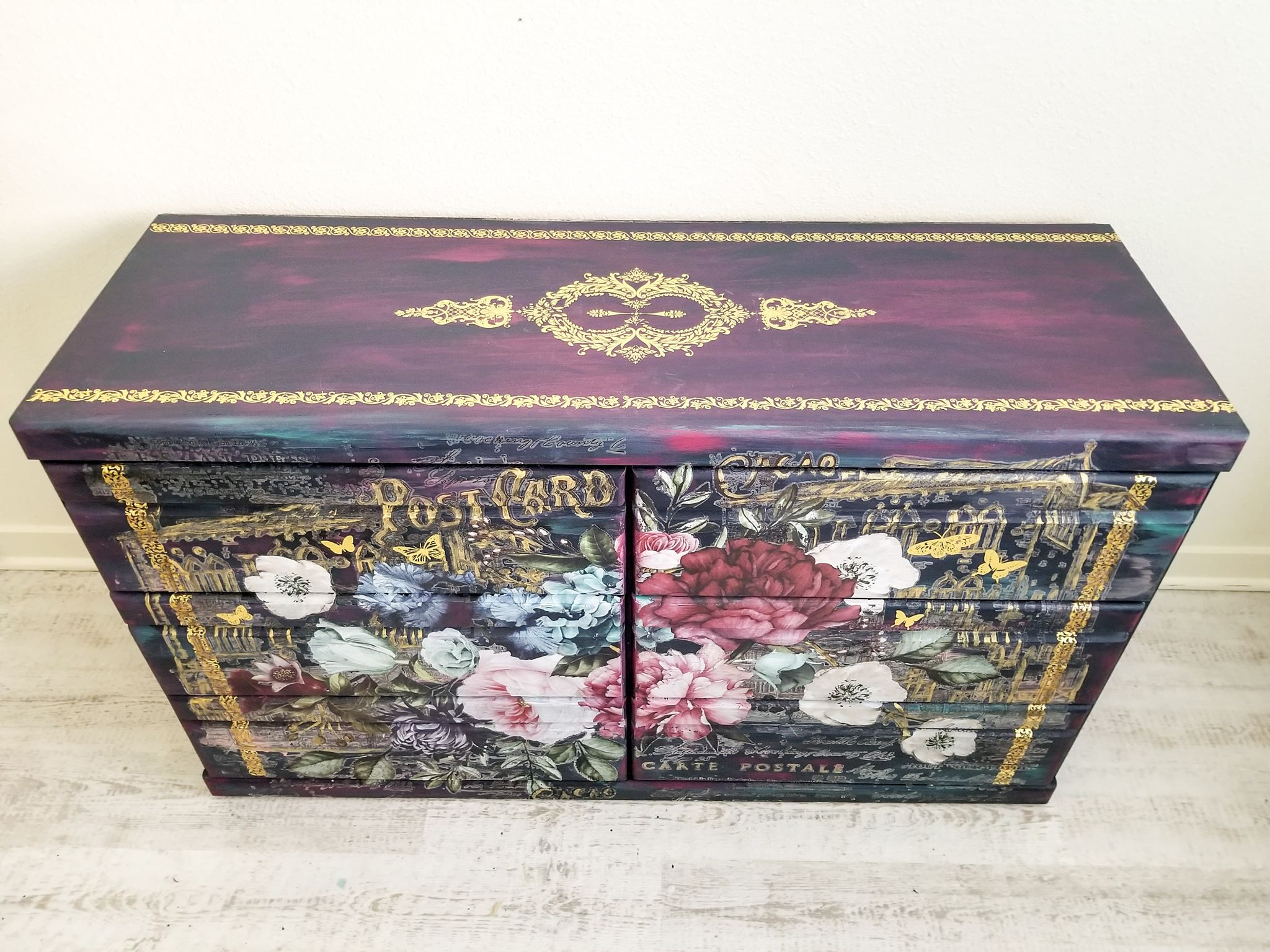 Then Crystin added the Imperial Garden Decor Transfer™ to the front drawers. The transfer set comes in 6 pieces and you can add them matching up or use as you wish. The she added the gold transfers as accents to the front and top of her piece.