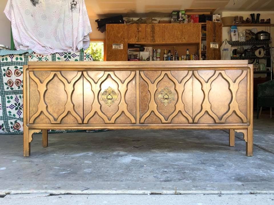Here is the before. A tired looking MCM entertainment center that has great bones, wonderful character and in need of some love.  Stephanie  has an eye for potential when she chooses her pieces and knows what they can become. That is a gift!